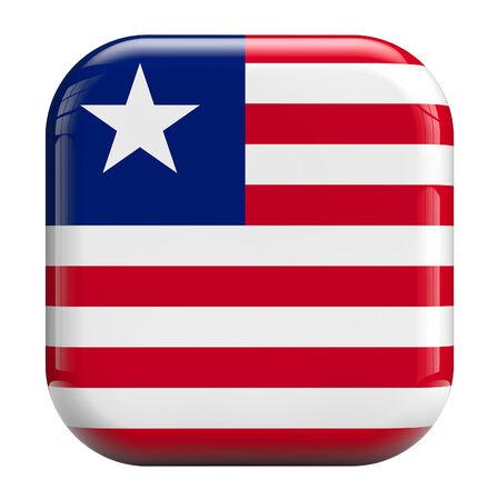 liberia: Liberia flag square icon image isolated on white