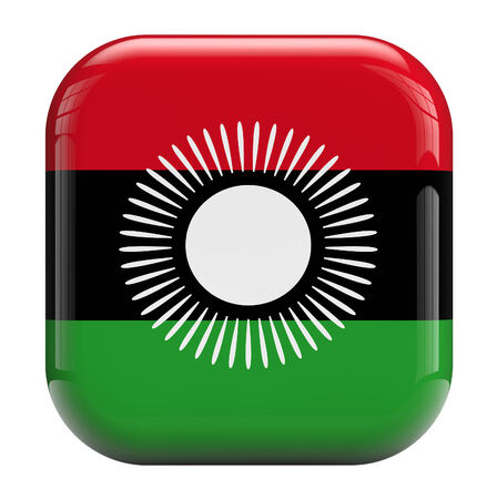 malawi flag: Malawi flag square icon image isolated on white. Clipping path included. Stock Photo