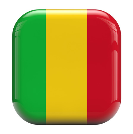 mali: Mali flag square icon image isolated on white. Clipping path included.
