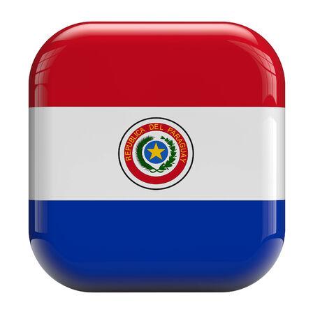 Paraguay flag: Paraguay icono de la bandera 3d aislado en blanco.