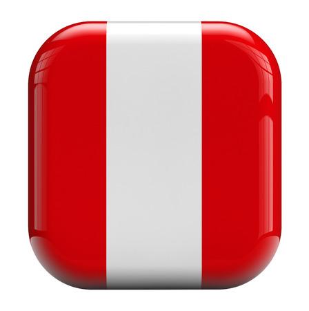 bandera de peru: Aislado icono de la bandera 3D Perú.