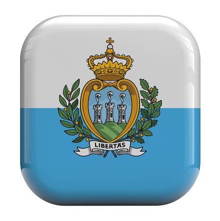 san marino: San Marino flag 3d icon isolated on white.