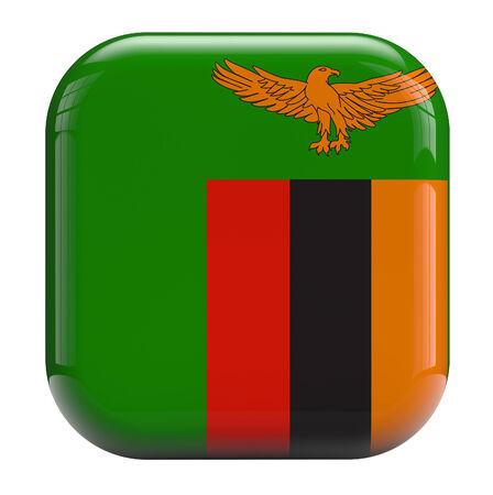zambian: Zambia flag icon isolated on white.