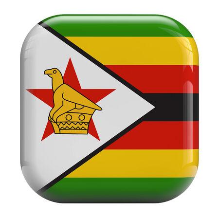zimbabwe: Icono de la bandera de Zimbabwe aislado en blanco. Foto de archivo