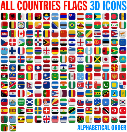 All country flags complete set. 3D and isolated square icons. Stock Photo