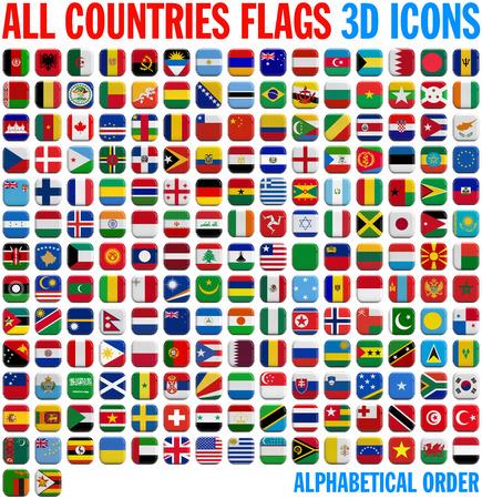 Všechny vlajky země úplná sada. 3D a izolované náměstí ikony. Reklamní fotografie