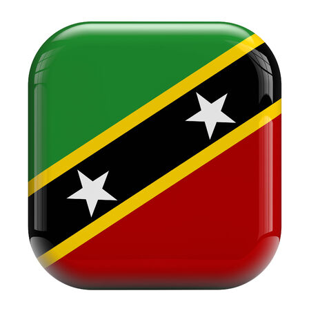 Saint Kitts and Nevis flag square icon image isolated on white. Clipping path included.