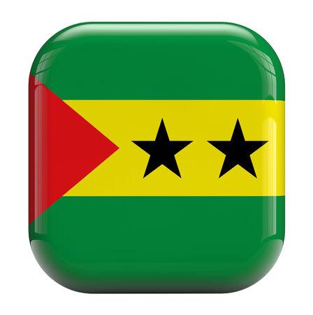 principe: Santo Tomé y Príncipe icono cuadrado de imagen de la bandera Foto de archivo