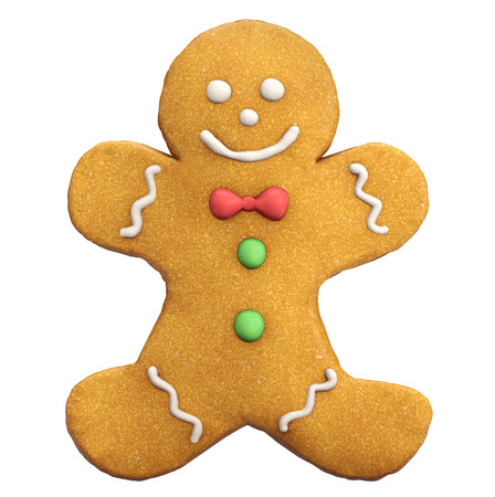 christmas cookie: Gingerbread man Christmas and New Year cookie icon isolated on white.