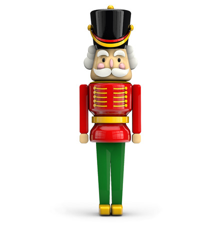 Nutcracker Christmas soldier toy isolated on white background with clipping path.