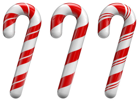Christmas candy cane ornaments set. Isolated on white and with clipping path.