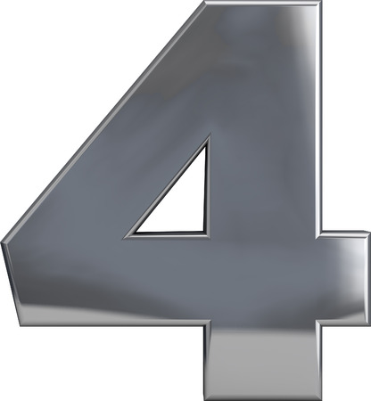 Metal number 4 (four) character isolated on white. Including clipping path. Part of complete alphabet set. Stock Photo