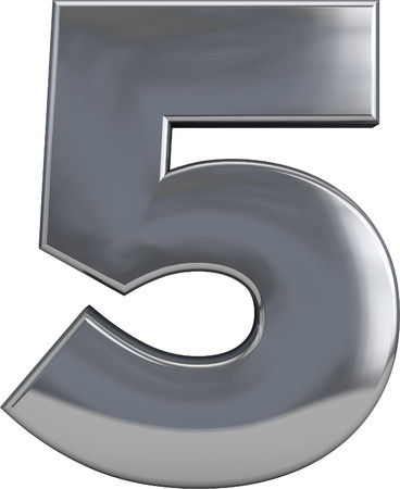 solid silver: Metal number 5 (five) character isolated on white. Including clipping path. Part of complete alphabet set.