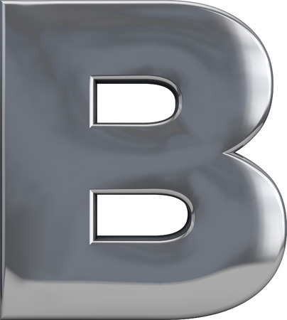 Metal B letter character isolated on white. Including clipping path. Part of complete alphabet set. photo