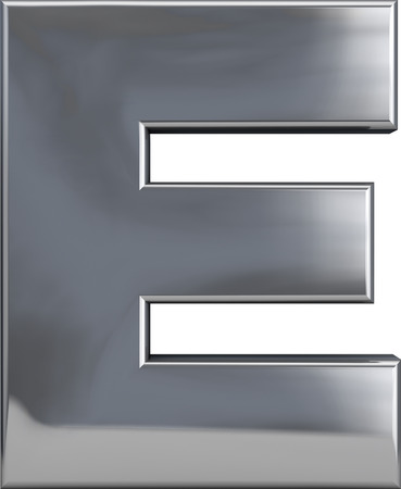 Metal E letter character isolated on white. Including clipping path. Part of complete alphabet set. Stock Photo
