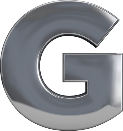 g alphabet: Metal G letter character isolated on white. Including clipping path. Part of complete alphabet set. Stock Photo