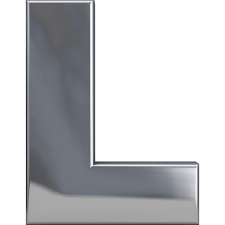 Metal L letter character isolated on white. Including clipping path. Part of complete alphabet set.