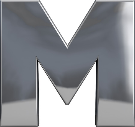 Metal M letter character isolated on white. Including clipping path. Part of complete alphabet set.