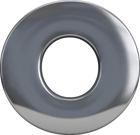 letras cromadas: Metal personaje letra O aislados en blanco. Incluyendo el trazado de recorte. Parte del conjunto alfabeto completo. Foto de archivo