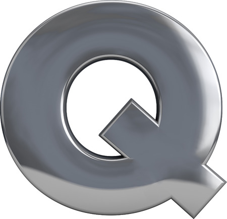 3D letter Q metal character isolated on white. Incousinf clipping path. Part of complete alphabet set. photo