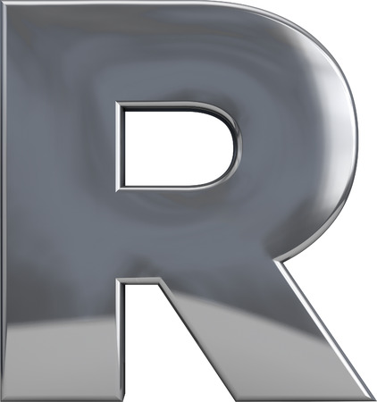 Metal R letter character isolated on white. Including clipping path. Part of complete alphabet set.