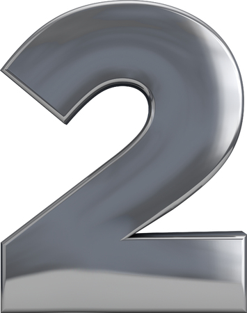 Metal number 2 (two) character isolated on white. Including clipping path. Part of complete alphabet set.