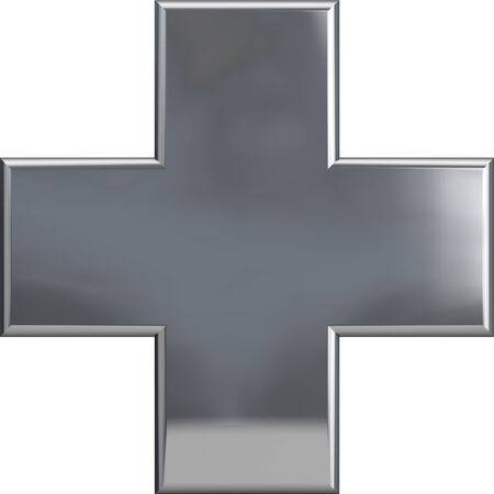 silver metal: Metal plus cross symbol isolated on white. Including clipping path. Part of complete alphabet set.