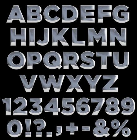 金属文字、数字、および区切り記号です。完全なアルファベット。クリッピング パス簡単に選択が含まれています。