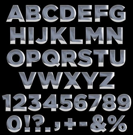 numbers: Metal letters, numbers, and punctuation symbols. Complete alphabet. Clipping path included for easy selection.