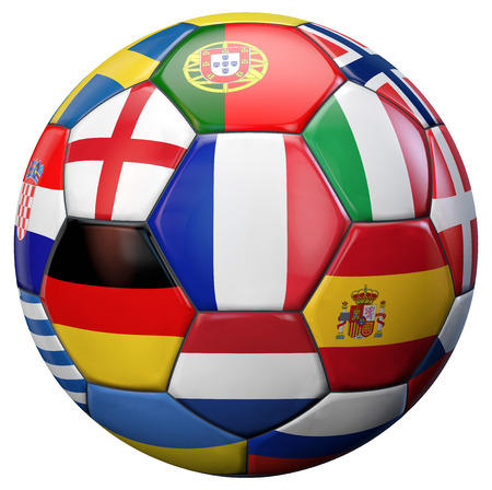 european championship: European football ball with France and other national flags teams isolated on white. Stock Photo