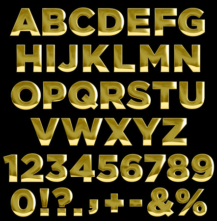 complete: Gold letters, numbers, and punctuation symbols. Complete golden alphabet Stock Photo