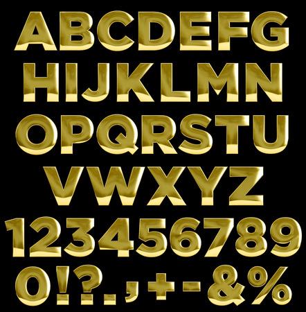 letras doradas: Letras de oro, n�meros y signos de puntuaci�n. Completa alfabeto de oro Foto de archivo