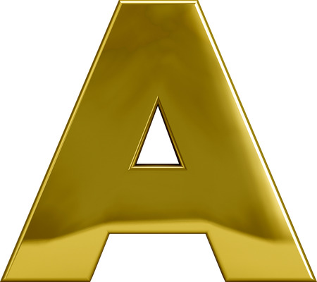 Gold letter A. Golden character isolated on white