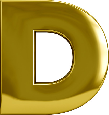 Gold Metal D letter character isolated on white