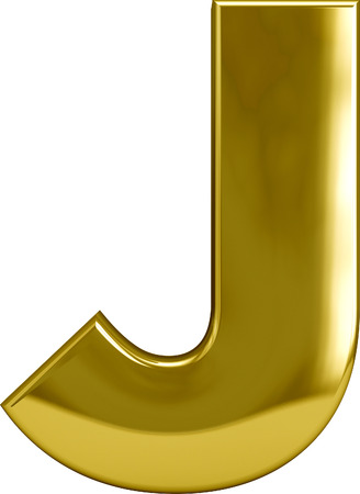 monotype: Gold metal J letter character isolated on white