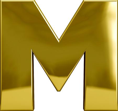 白で隔離される金の金属 M 文字
