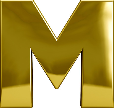 Gold metal M letter character isolated on white Imagens