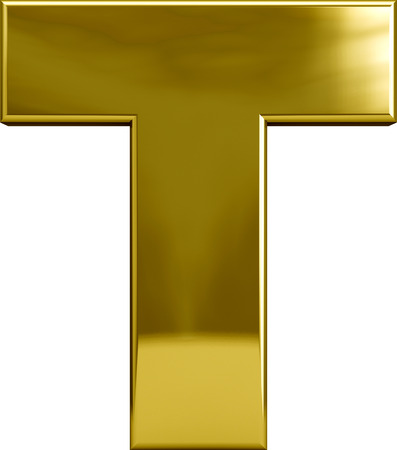 Gold metal T letter character isolated on white Standard-Bild