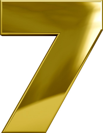white metal: Gold metal number 7 character isolated on white