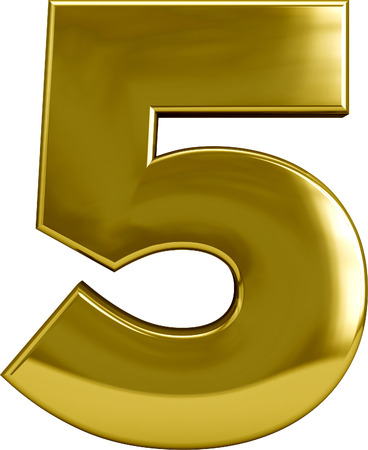 Number 5: Gold metal number 5 (five) character isolated on white