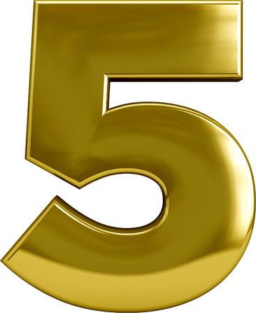 Gold metal nummer 5 (vijf) teken op wit wordt geïsoleerd