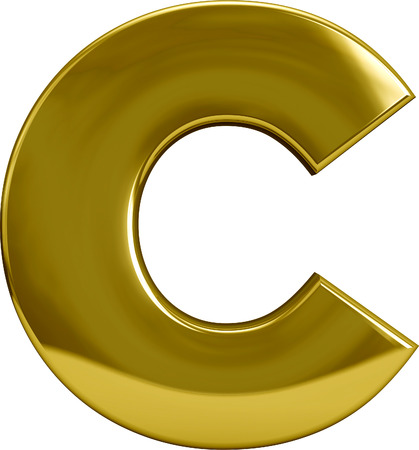 letter c: Gold metal C letter character isolated on white