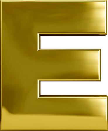 abecedario: Carácter carta del metal del oro E aislado en blanco
