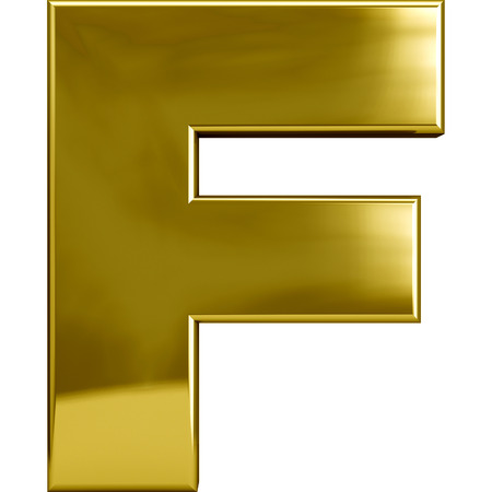 font alphabet: Gold metal F letter character isolated on white