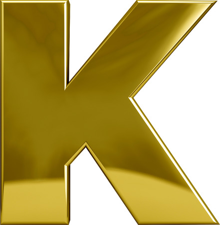 monotype: Gold metal K letter character isolated on white