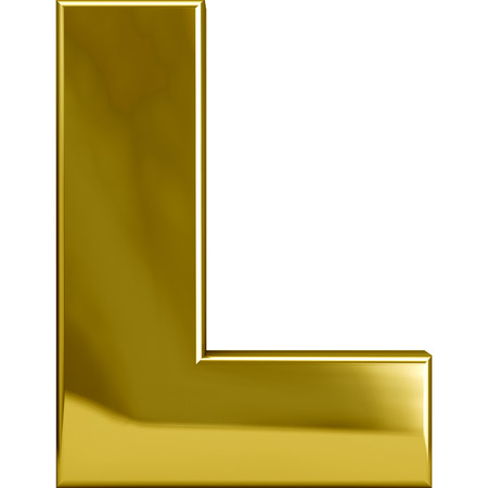 Gold metal L letter character isolated on white Stok Fotoğraf