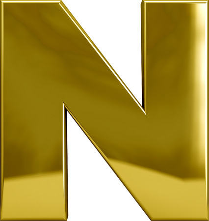 Gold metal M letter character isolated on white. Including clipping path. Part of complete alphabet set.