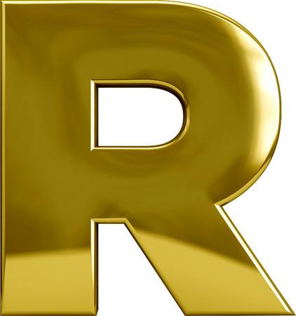 font alphabet: Gold R letter character isolated on white