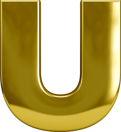 monotype: Gold metal U letter character isolated on white
