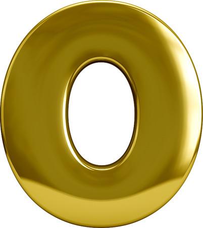 letras de oro: Oro 3D cero carácter 0 de metal aislado en blanco